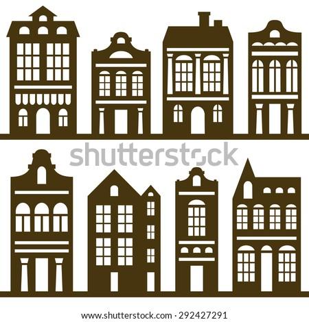 houses silhouette set - stock photo