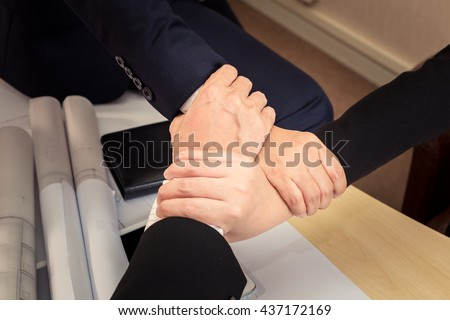 3 Human Hand Assemble Corporate Meeting /Teamwork ,People.(Vintage Tone) - stock photo
