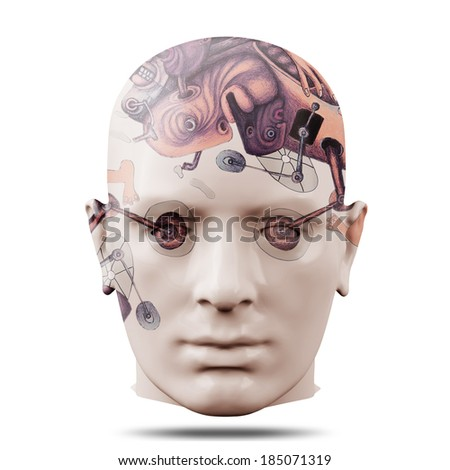 human head with drawings and white background
