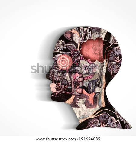 human head with drawings and white background - stock photo