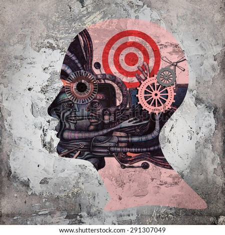 human head with drawings ,gears copyspace for text and wall background - stock photo