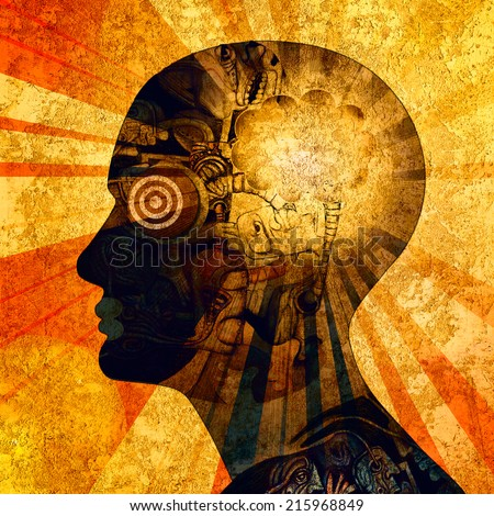 human head with drawings sun and wall background