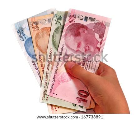 hundred and ten, twenty, fifty Turkish Lira white background - stock photo
