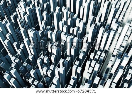 hundreds of skyscrapers; aerial view - stock photo