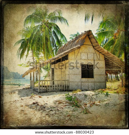 hut on the tropical beach - retro styled picture - stock photo