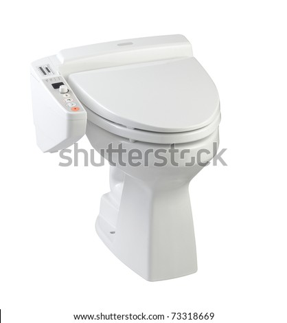 Hygienic toilet bowl, nice sanitary modern style and high technology the image isolated on white - stock photo