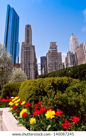 Hyperfocal distance used to achieve sharp focus front to back of Chicago buildings juxtaposed with vibrant tulips in Grant Park. - stock photo