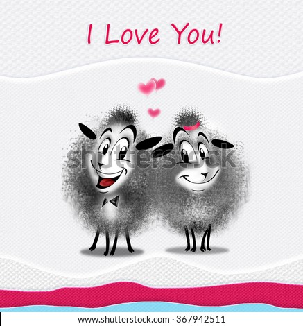 """""""I love You!"""" greeting card design. Couple cutest sheep sends you a love. You can share your card on social media, to print this card or send it in a email. - stock photo"""