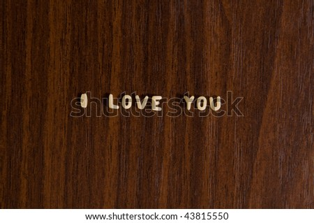 """I love you"" made from pasta - stock photo"