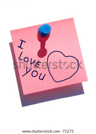 """I love you"" note - stock photo"