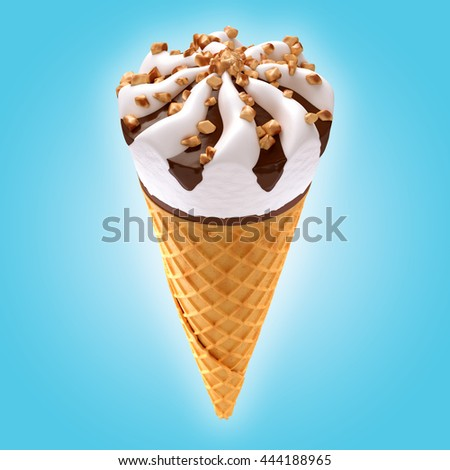 ice cream cone on blue background / 3D illustration