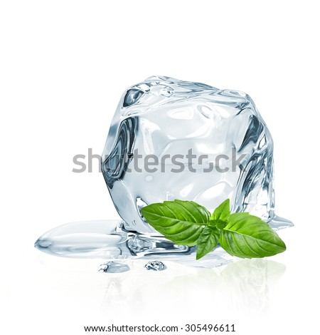 Ice cubes and basil leaves isolated on white background  - stock photo
