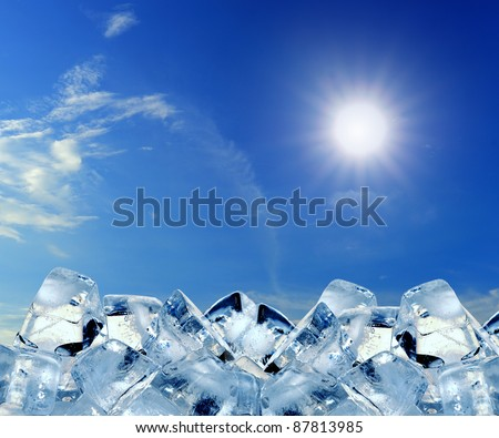 ice cubes in blue sky - stock photo