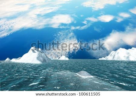 ICEBERG with nice sky - stock photo