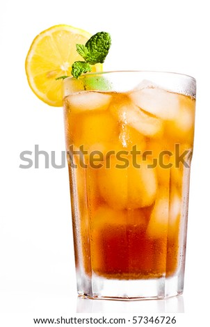 Iced tea with lemon isolated on white