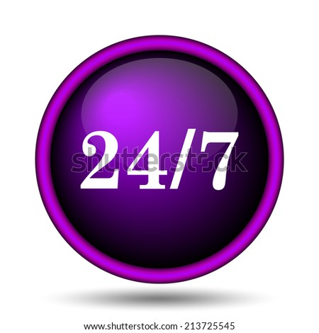 24 7 icon. Internet button on white background.  - stock photo
