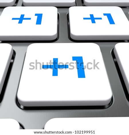 +1 icon on a button keyboard, 3d render