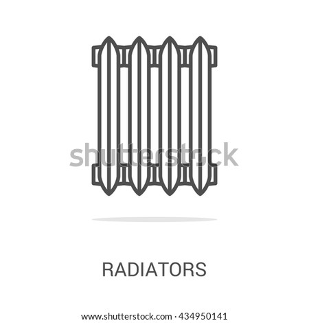 icon radiators. Spare parts and household appliances for the kitchen, gas supply, water supply modern home. - stock photo