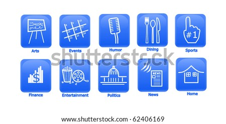10 Icons Arts, Culture, and Media Icons on Blue. - stock photo