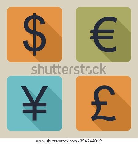 icons of money. Dollar, euro, pound, yen. flat design with long shadow - stock photo