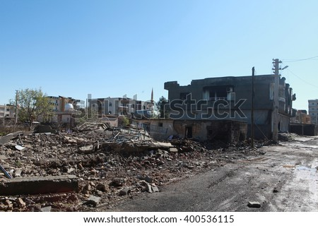 IDIL, SIRNAK - MARCH 31: Idil is seen just after it was hit during clashes between Kurdish protesters and Turkish police. The Photo Taken March 31, 2016.  - stock photo
