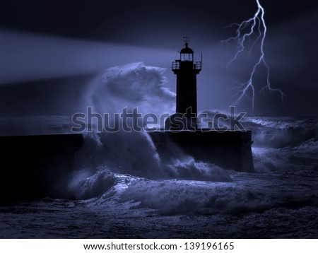 Illustration about heavy storm weather conditions at the entrance of an harbor. - stock photo