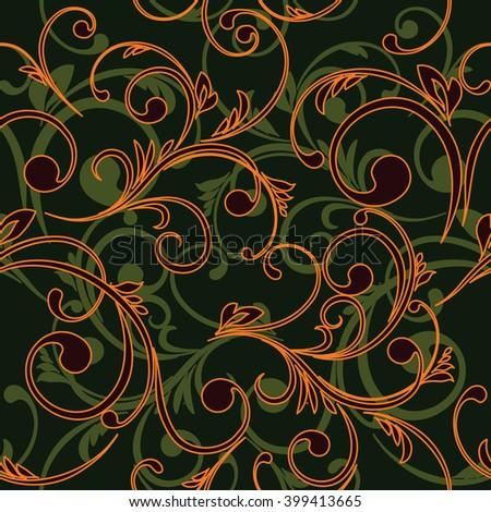 illustration Abstract vintage seamless damask pattern - stock photo