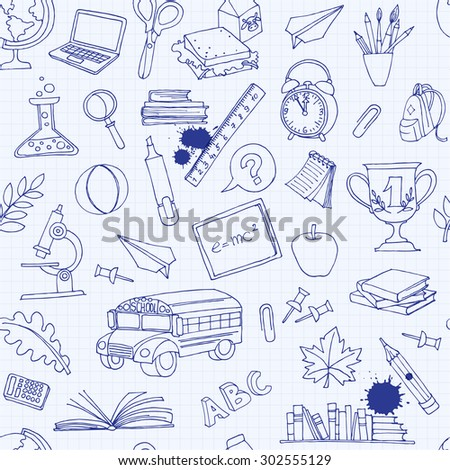illustration  Back to school seamless pattern of kids doodles with bus, books, computer, blackboard and world map on notebook grid sheet