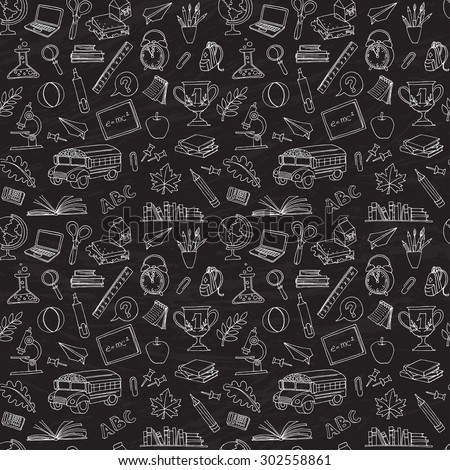 illustration  Back to school seamless pattern of kids doodles with bus, books, computer and world map on blackboard