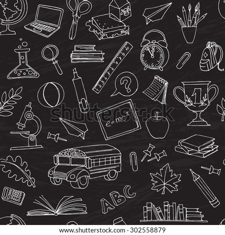 illustration  Back to school seamless pattern of kids doodles with bus, books, computer and world map on blackboard  - stock photo
