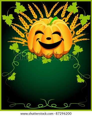 illustration background for message with pumpkin and ear - stock photo