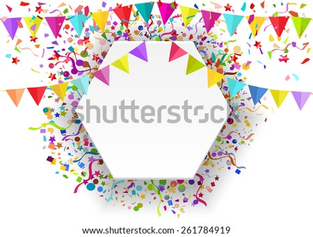 Illustration background of a falling tiny confetti pieces and colored pennants on white banner, place for Your text.