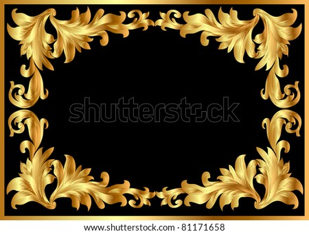 illustration background pattern frame from gild on black background - stock photo