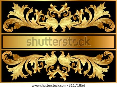 illustration background pattern frame from gild on black background - stock photo