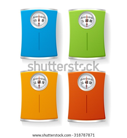 illustration Colorful Bathroom Scale set isolated on a white background.  - stock photo