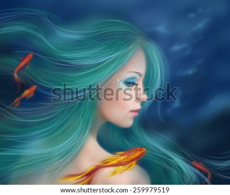 Illustration fantasy sea mermaid with red fishes