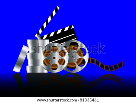 illustration film in reel with reflection on turn blue background - stock photo