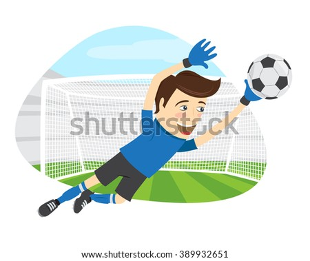 illustration Funny soccer football player goalkeeper wearing blue t-shirt jumping for ball - stock photo