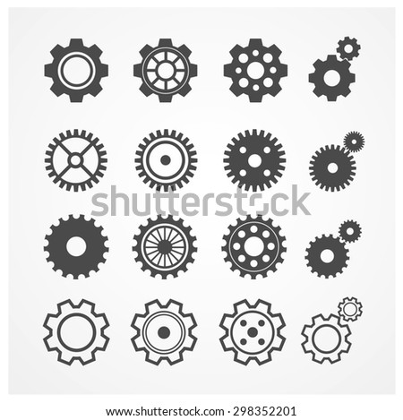 illustration gear icon set. Gearwheel mechanism collection. Gear Concept. Flat Design - stock photo