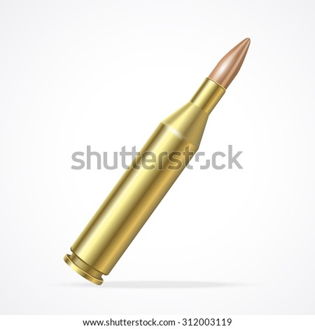 illustration Gold Rifle Bullet isolated on a white background. The symbol of the weapons of the army - stock photo