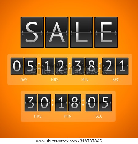 illustration. Mechanical timtable sale. The concept of the countdown isolated on a orange background.