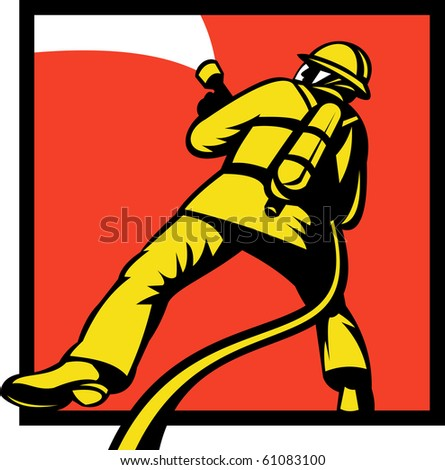 illustration of a Firefighter or fireman aiming a fire hose viewed from rear in retro style