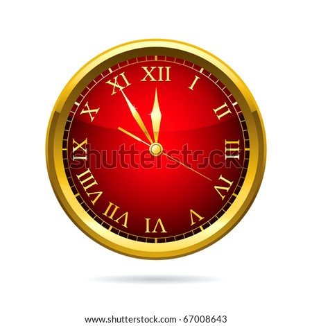 Illustration of a  holiday red clock. - stock photo