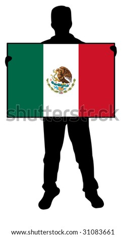 illustration of a man holding a flag of mexico - stock photo