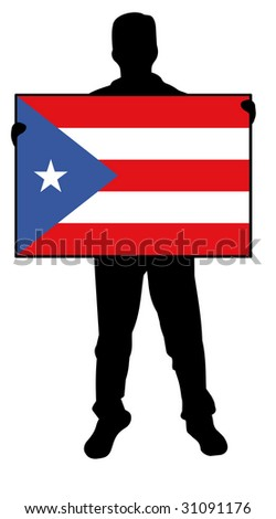 illustration of a man holding a flag of puerto rico - stock photo