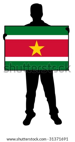 illustration of a man holding a flag of suriname - stock photo