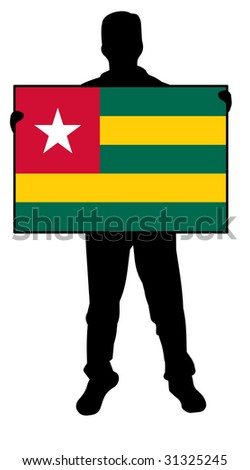 illustration of a man holding a flag of togo