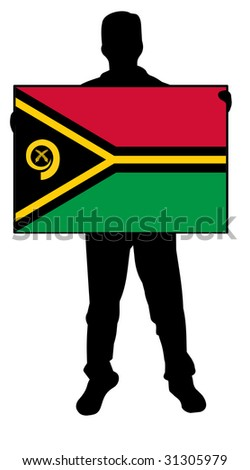 illustration of a man holding a flag of vanautu