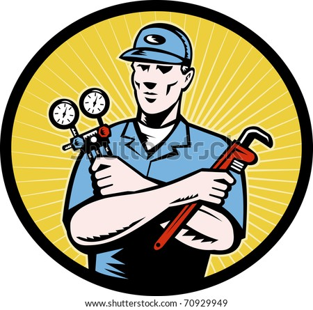illustration of a repairman or air conditioning  aircon a/c  serviceman holding an ac manifold gauge and pipe  wrench done in retro woodcut style set inside oval with sunburst