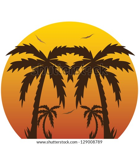 illustration of a tropical sunset and palm trees.